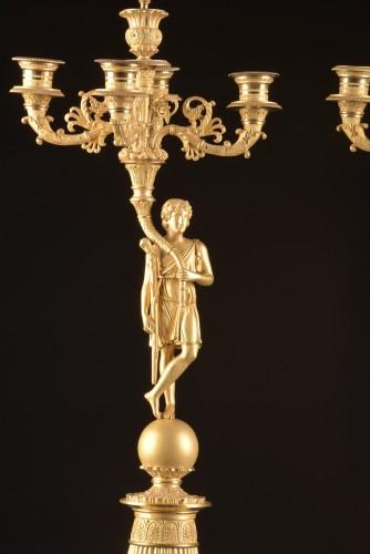 Early 19th Century Empire Figural Gilt Bronze Candelabra - Lighting Style Empire