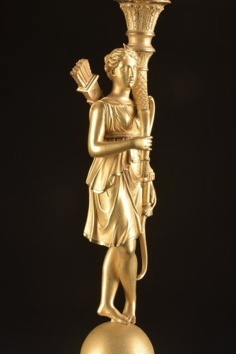 Antiquités - Early 19th Century Empire Figural Gilt Bronze Candelabra