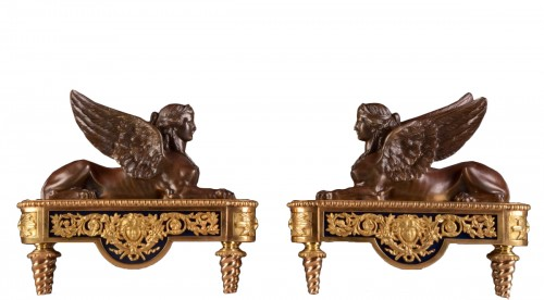 Pair of chenets, decorated with Sphinx
