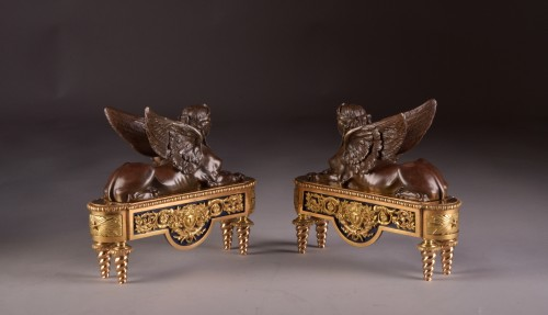Pair of chenets, decorated with Sphinx -