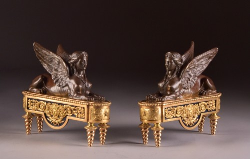 Pair of chenets, decorated with Sphinx - Empire