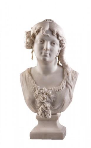 César CERIBELLI (1841-1918), Carrara marble female bust