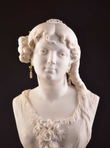 César CERIBELLI (1841-1918), Carrara marble female bust - Sculpture Style Art nouveau