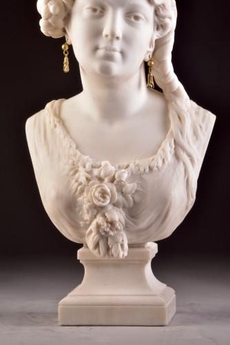Sculpture  - César CERIBELLI (1841-1918), Carrara marble female bust