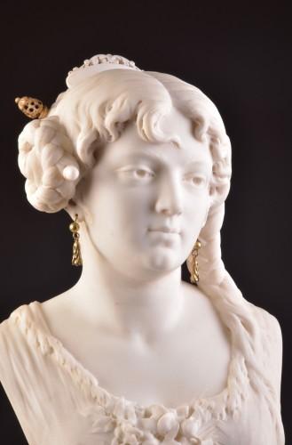 César CERIBELLI (1841-1918), Carrara marble female bust -