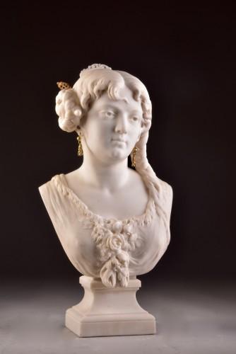 19th century - César CERIBELLI (1841-1918), Carrara marble female bust