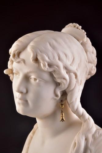 César CERIBELLI (1841-1918), Carrara marble female bust - Art nouveau