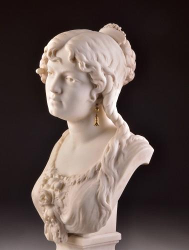 Art nouveau - César CERIBELLI (1841-1918), Carrara marble female bust