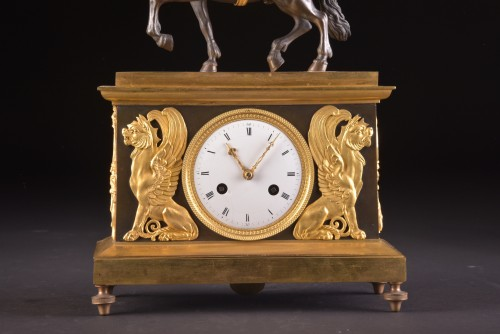 Horology  - Cupid on horseback, a Directoire ormolu mantel clock