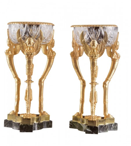 Pair of Napoleon III coups, with baccarat crystal