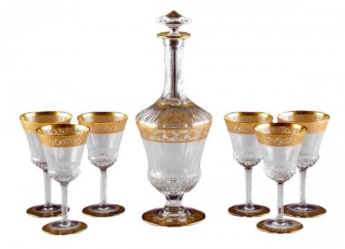 St. Louis Thistle Gold  Cristal Carafe & 6 glasses