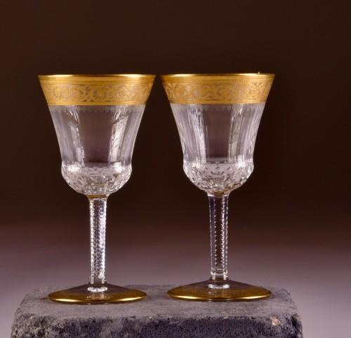 St. Louis Thistle Gold  Cristal Carafe & 6 glasses - Glass & Crystal Style Art nouveau