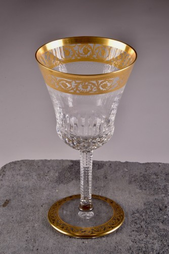 Glass & Crystal  - St. Louis Thistle Gold  Cristal Carafe & 6 glasses