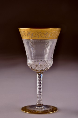 19th century - St. Louis Thistle Gold  Cristal Carafe & 6 glasses