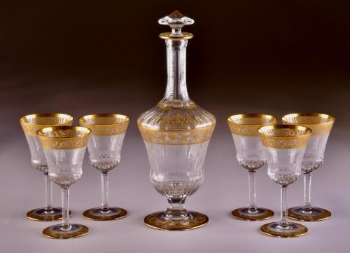 St. Louis Thistle Gold  Cristal Carafe & 6 glasses - Art nouveau