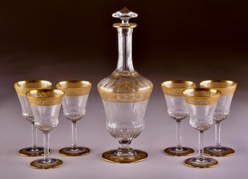 Art nouveau - St. Louis Thistle Gold  Cristal Carafe & 6 glasses