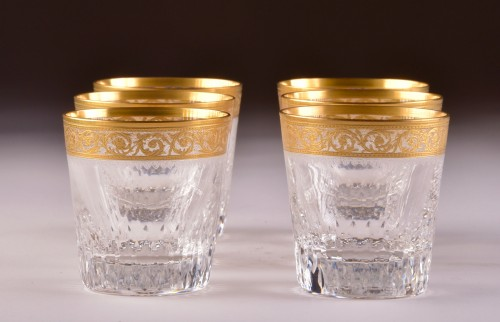 """Glass & Crystal  - St. Louis - """"Thistle Gold"""" carafe & 6 """"Thistle Gold"""" glasses"""