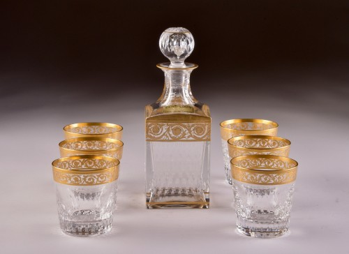 """St. Louis - """"Thistle Gold"""" carafe & 6 """"Thistle Gold"""" glasses -"""