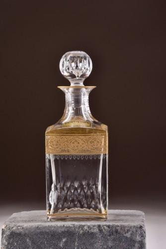 """St. Louis - """"Thistle Gold"""" carafe & 6 """"Thistle Gold"""" glasses - Art nouveau"""