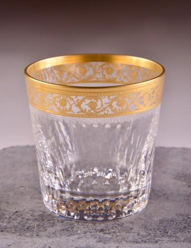 """Art nouveau - St. Louis - """"Thistle Gold"""" carafe & 6 """"Thistle Gold"""" glasses"""