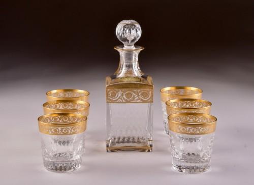 "Antiquités - St. Louis - ""Thistle Gold"" carafe & 6 ""Thistle Gold"" glasses"