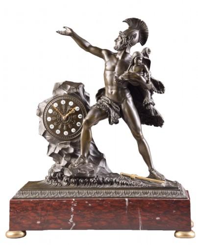 "Spectacular clock ""Protecting the child"" - Claude Hémon (1770 - 1820)"