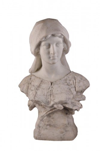 Large two-tone Carrara marble bust of a young woman