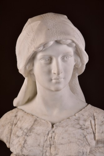 Large two-tone Carrara marble bust of a young woman - Sculpture Style Art nouveau