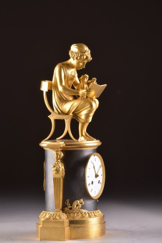"""A beautiful bronze gilt & patinated """"Child reading"""" Empire clock, ca. 1810 - Horology Style Empire"""