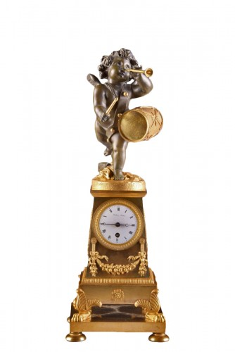 """High qualiy French Empire clock """"Putto with drum and flute"""""""