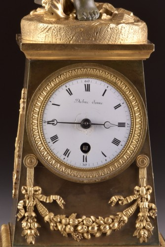 """High qualiy French Empire clock """"Putto with drum and flute"""" -"""
