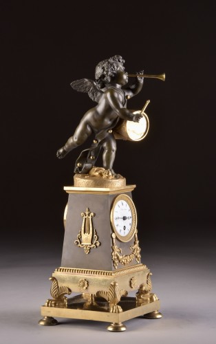 """High qualiy French Empire clock """"Putto with drum and flute"""" - Empire"""