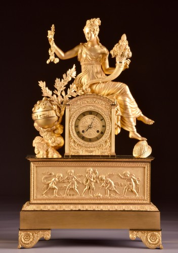 A large French gilt bronze pendule, Fortuna Goddess with the Cornucopia  - Horology Style Restauration - Charles X