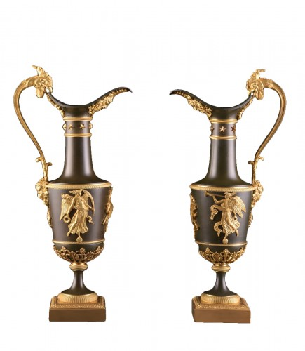 Pair of gilt & patinated bronze ewers, attributed to Claude Galle, ca. 1805