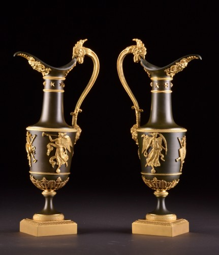 Pair of gilt & patinated bronze ewers, attributed to Claude Galle, ca. 1805 -