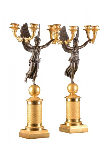 Exceptionally fine pair French figural bronze Empire candelabra