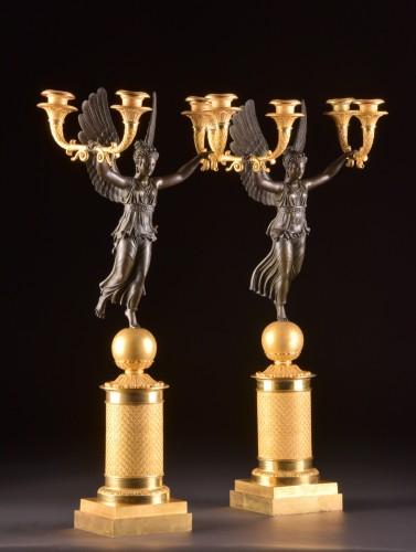 Exceptionally fine pair French figural bronze Empire candelabra -