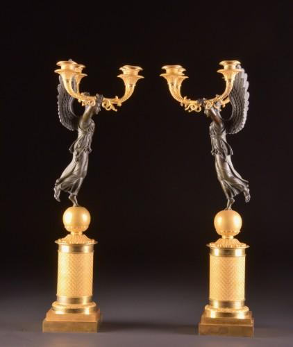 19th century - Exceptionally fine pair French figural bronze Empire candelabra