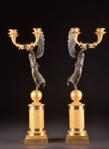 Empire - Exceptionally fine pair French figural bronze Empire candelabra