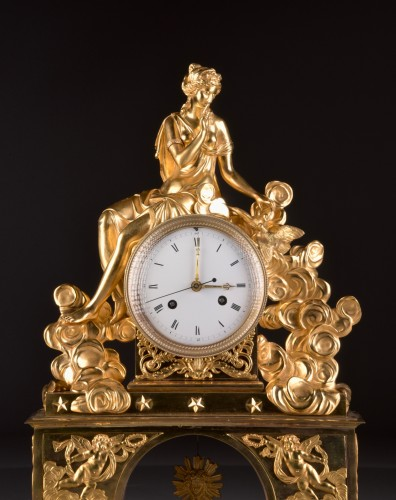Horology  - A large romantic Directoire pendule with pinnen wheel