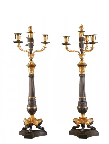 A LARGE PAIR FRENCH CHARLES X BRONZE CANDELABRA