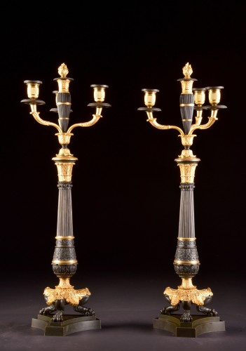 A LARGE PAIR FRENCH CHARLES X BRONZE CANDELABRA - Lighting Style Louis-Philippe