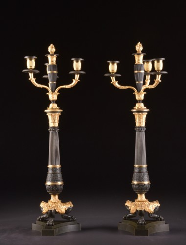 Lighting  - A LARGE PAIR FRENCH CHARLES X BRONZE CANDELABRA