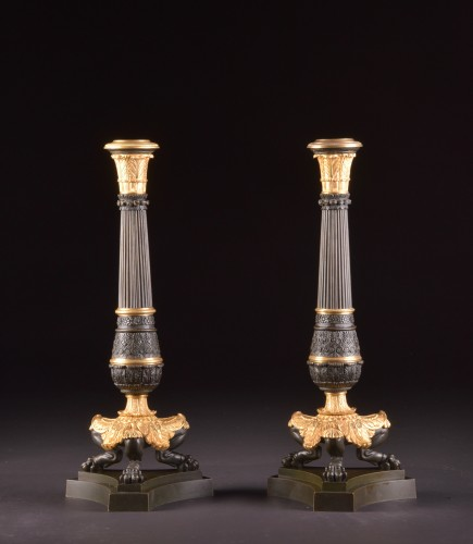A LARGE PAIR FRENCH CHARLES X BRONZE CANDELABRA - Louis-Philippe