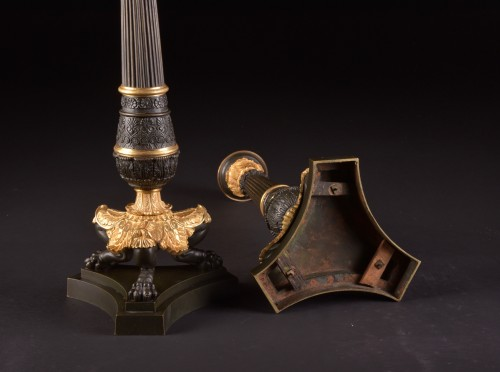 Antiquités - A LARGE PAIR FRENCH CHARLES X BRONZE CANDELABRA