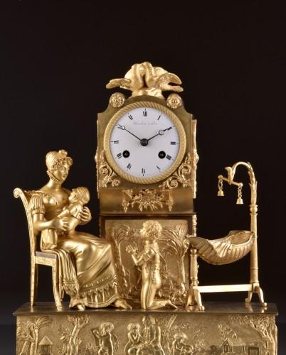 Horology  - French  Empire clock signed Jean Simon Deverberie á Paris