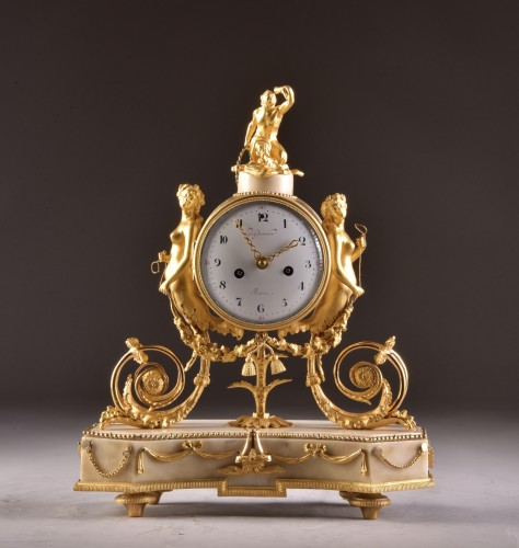 A beautiful marble Louis XVI mantel clock with mermaid and bacchante - Horology Style Louis XVI