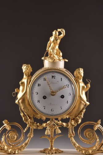 Horology  - A beautiful marble Louis XVI mantel clock with mermaid and bacchante
