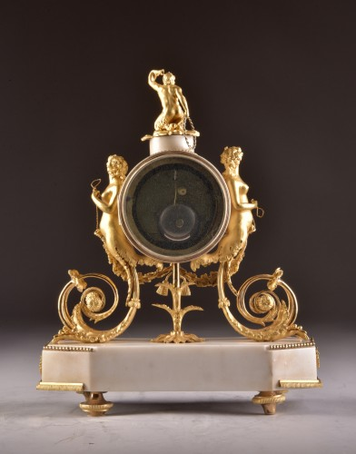 Antiquités - A beautiful marble Louis XVI mantel clock with mermaid and bacchante