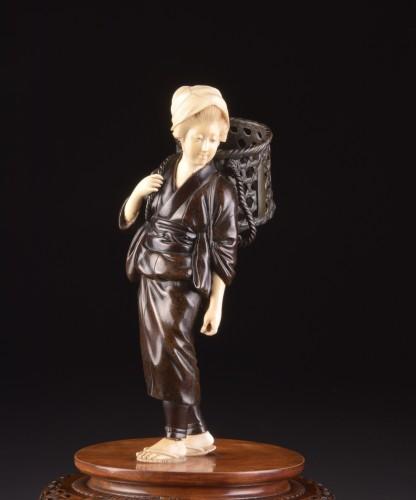 """Asian Works of Art  - Okimono """"Lady with basket"""", Japan Meiji period"""